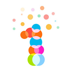 one number colorful bubbles and balls vector image