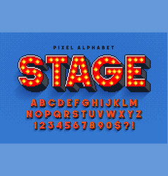 Pixel broadway show alphabet design stylized like vector