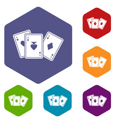 playing cards icons set vector image