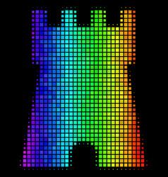 Rainbow pixel bulwark tower icon vector