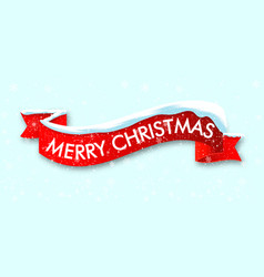 Red realistic curved ribbon merry christmas vector