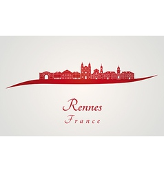 Rennes skyline in red vector image