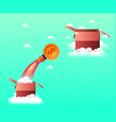 Rocket start up with coin and box vector