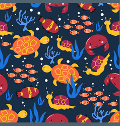 Seamless pattern with marine life snail crab vector