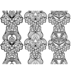 Set boho ethnic seamless vertical patterns tribal vector