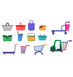 Set small shopping basket or wire shopping vector