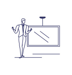 silhouette man with screen in white background vector image