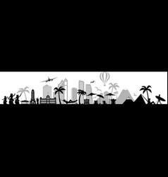 skyline honolulu hawaii silhouette outline vector image
