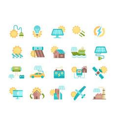 Solar panel outline icon set vector