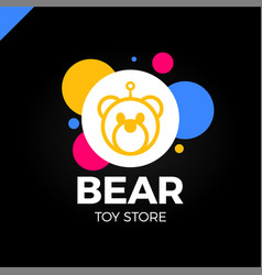 space robot bear logotype toy store icon vector image