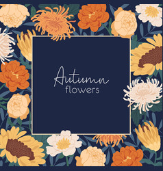 square flowery background with gorgeous autumn vector image