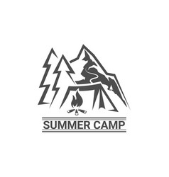 summer camp logotype camp outdoor adventure vector image