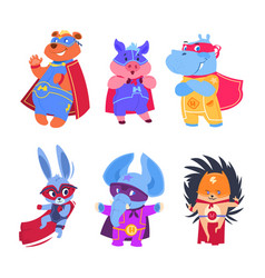 Superhero animals baby superheroes vector