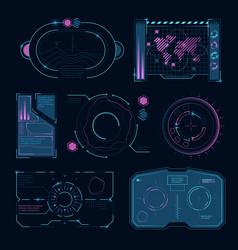 tech interface futuristic high symbols hud vector image