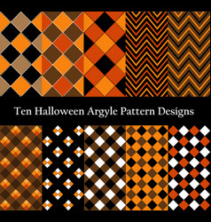 Ten halloween seamless pattern designs collection vector