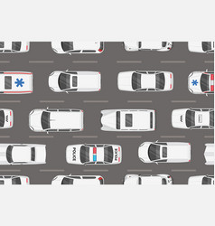 top view white cars seamless pattern vector image