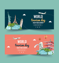 Tourism day banner design with statue liberty vector