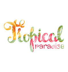 tropical paradise lettering with flowers and vector image