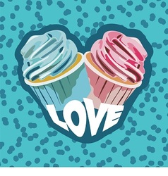 two colorful cupcakes vector image