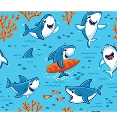 Underwater world with funny sharks background vector