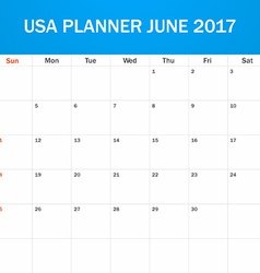 Usa planner blank for june 2017 scheduler agenda vector