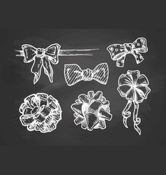 vintage bow knots on chalkboard vector image