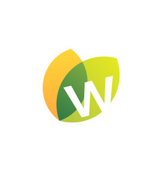 W letter leaf overlapping color logo icon vector