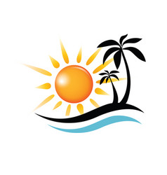Wave sun and palm symbol travel and summer time vector