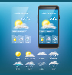 weather forecast app weather icons set vector image