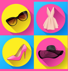 Woman fashion dress icon set - sunglasses vector