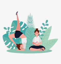 Women practice yoga relaxation pose vector