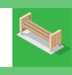wooden bench on green background - isometric vector image