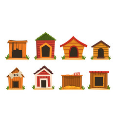 wooden dog house set dogs kennel cartoon vector image