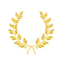 Wreath of leaves icon gold laurel symbol vector