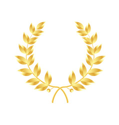 Wreath of leaves icon gold laurel wreath symbol vector