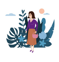 young girl in a lilac sweater with a basket goes vector image
