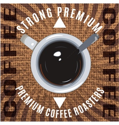banner with a coffee cup and spoon vector image vector image