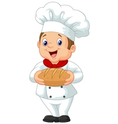 Cartoon chef holding a loaf of bread vector image vector image