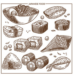 japanese cuisine sketch icons set of sushi vector image