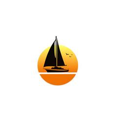 sailing boat sunset logo vector image