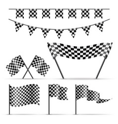set of sport checkered flags vector image