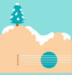 christmas tree and acoustic guitar background vector image