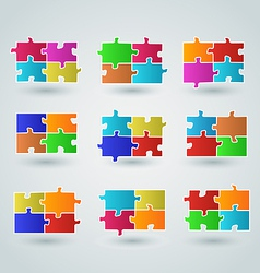 Collection abstract colorful puzzle pieces vector image vector image