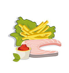 fish steak with french fries and sose vector image