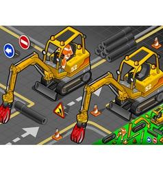 Isometric Mini Mechanical Arm Excavator in Front vector image