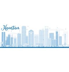 Outline houston skyline with blue buildings vector
