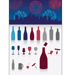 party drinks set with firework vector image vector image