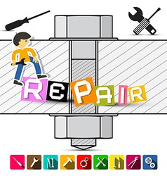 Screw with Repair Title Colorful Tools Flat Design vector image