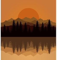 sunset mountain vector image vector image