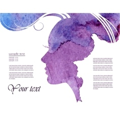 Watercolor Fashion Woman with Long Hair vector image
